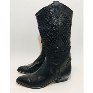 LENNI Italy Perforated Leather Cowboy Boots Sz 7.5